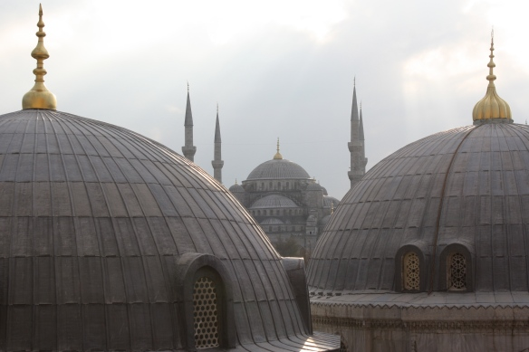 the Blue Mosque seen from out the window of a top level at the Hagia Sophia